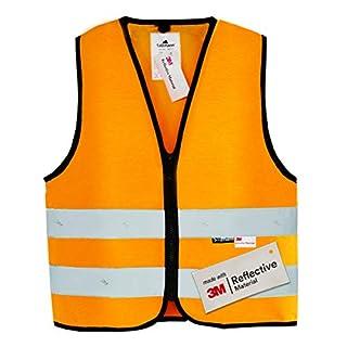 Salzmann 3M Warnweste für Kinder mit Reißverschluss, mit 3M Reflektierendem Material, Orange, Größe S