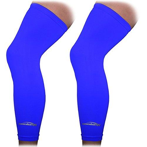 COOLOMG Beinlinge Knielinge Kompression Kniewärmer Radsport Basketball Fußball UV Sonnenschutz Anti Rutschen für Herren Damen Kinder Jugend Blau L (1 Paar)