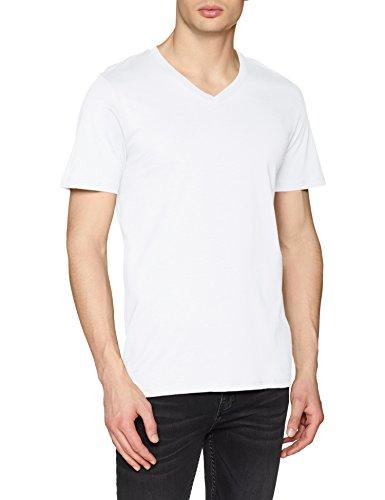 JACK & JONES Herren JJEPLAIN Tee SS V-Neck NOOS T-Shirt, Weiß (White Detail: Slim Fit), Medium (T-shirt V-neck Baumwoll Jersey)