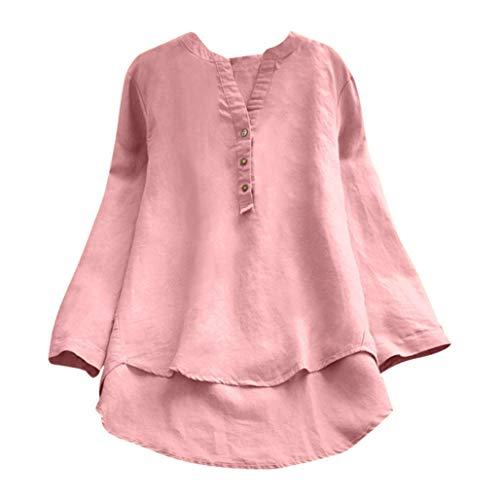 VEMOW Herbst Frühling Sommer Elegante Damen Frauen Stehkragen Langarm Casual Täglichen Party Strand Urlaub Lose Tunika Tops T-Shirt Bluse(X1-Rosa, EU-44/CN-XL)
