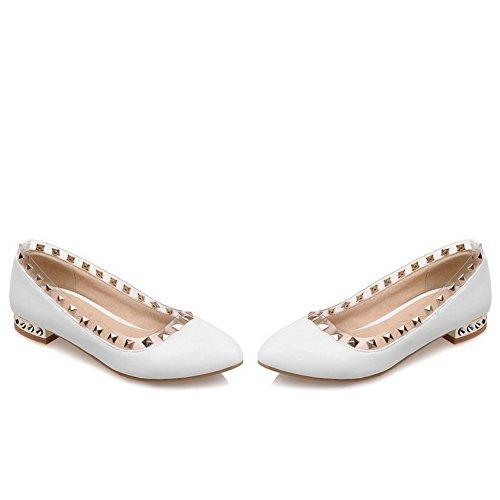 balamasa Mesdames low-heels à enfiler en cuir clouté brevet pumps-shoes Blanc