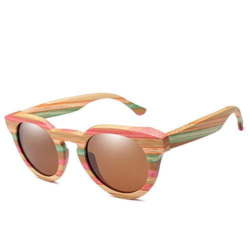 Herren Sonnenbrillen Holz Mode Bambus Brille Cat Eye polarisierte Sonnenbrille LTJHJD (Color : Braun, Size : Kostenlos)