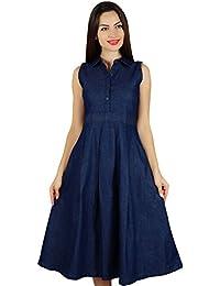 34a195a44a51 Bimba Womens Sleeveless Pleated A-line Dress with Pockets Casual Denim Shift  Shirt Dress