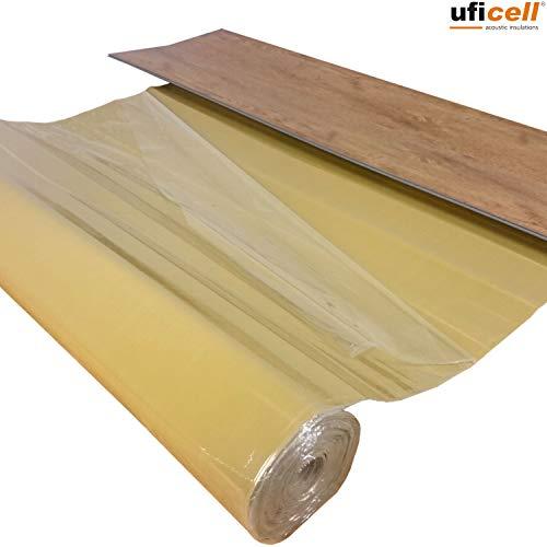 """10 m² Vinyl Trittschalldämmung\""""uficell VinosilentFixo\""""Stärke: 1,5 mm-Vinylunterlage mit Selbstklebeschicht für die Verlegung von\""""Click\""""Vinyl-/LVT-Designboden mit einer Stärke von 4-5 mm"""