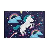 KAIHONG Cartoon Einhorn Regenbogen-Teppich Fußmatte Rutschfest Polyester für Bett Wohnzimmer 91,4 x 61 cm, Polyester, Multi1, 36 x 24 inch