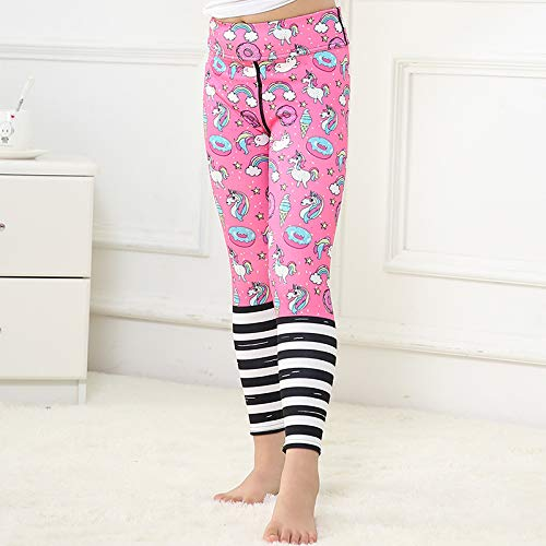 YUNMENG Reallion Einhorn Donut Print Yoga Hosen Mutter und Tochter Leggings Kleidung Familie passende Outfits Laufhose Sport