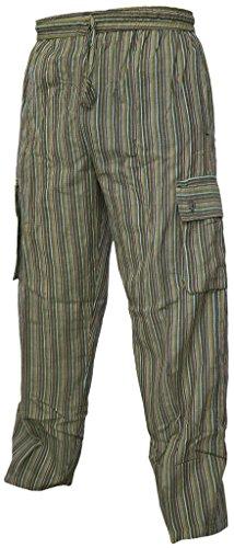 Leichte Baumwollhose, elastische Taille, Sommerhose mit Tasche Striped Green