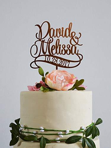 Personalisierbare Namens-Kuchenaufsatz, für Hochzeit, Paar, Hochzeit, Verlobungskuchen, Tortenaufsatz, rustikale Tortenaufsätze