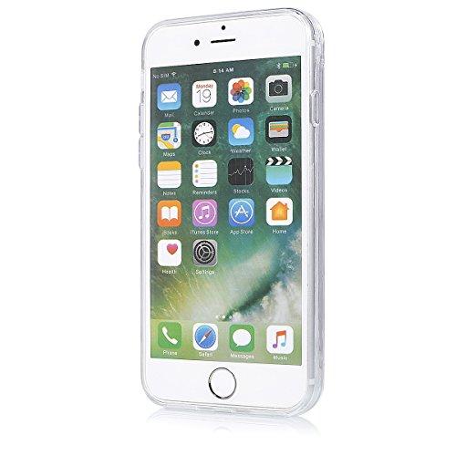 Coque iPhone 7 Sterne,Coque iPhone 7 Flüssigem,Ekakashop Creative 3D Motif Or Carré Dual Layer Bling Shiny Brillant Scintillante Poudre Transparente Clair Cristal Clear étui Strass étoiles Paillettes  Poudre Fraîche Bague