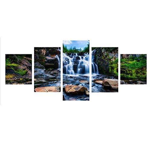 Xurgm 5D Full Bohrer Diamant Gemälde 5-Pictures Kombination Kits handgefertigt DIY Stickerei Naht Geschenk Arts Crafts für Haus Wand Büro Wohnzimmer Schlafzimmer Decor Wasserfall -