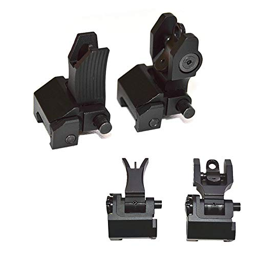 HWZ Tactical Front Folding Style Battle Sight and Folding Battle Sight Rear for Hunting -