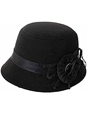 zhouba mujeres fiesta viaje Retro flores Bowler Color sólido sombrero de Fedora Bowler Caps