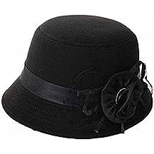 zhouba mujeres fiesta viaje Retro flores Bowler Color sólido sombrero de Fedora Bowler Caps negro negro talla única