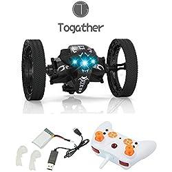 Togather ® 2,4 g de control remoto mini coche de despedida, coche de salto, RC Bounce salto de sumo coche mini coche de juguete con 2 segundos de rotación y LED Night Lights Bounce RC Toy (negro)