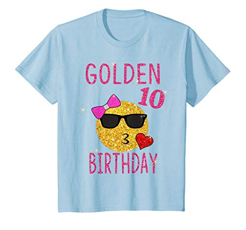 Youth Golden 10th Birthday Shirt 10 Years Old Gift