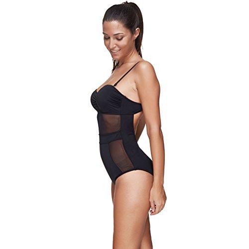 FeelinGirl Frauen Plus Size Retro hohe Taille Geflochtene Fringe Top Bikini M Schwarz -