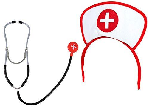 Alsino set di travestimento da infermiera | (kv-56) taglia unica | adulti | stetoscopio nero | cerchietto | costume | carnevale | halloween | festa serata a tema