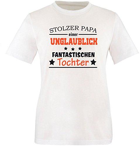 EZYshirt® Stolzer Papa einer unglaublich fantastischen Tochter Herren  Rundhals TShirt Weiß/ Schwarz/ Orange