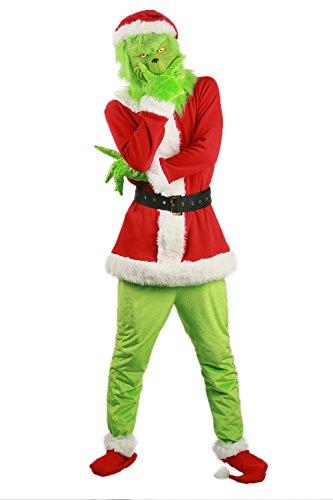 BIRDEU Grinch Kostüm Cosplay Top Outfit mit Maske Gürtel Hut Herren Damen Kleidung für Erwachsene Weihnachten Halloween Party