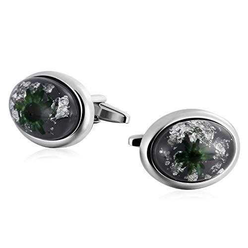 Epinki acciaio inossidabile ovale pietra con fiore verde gemelli per uomo gemelli camicia studs azienda matrimonio regali