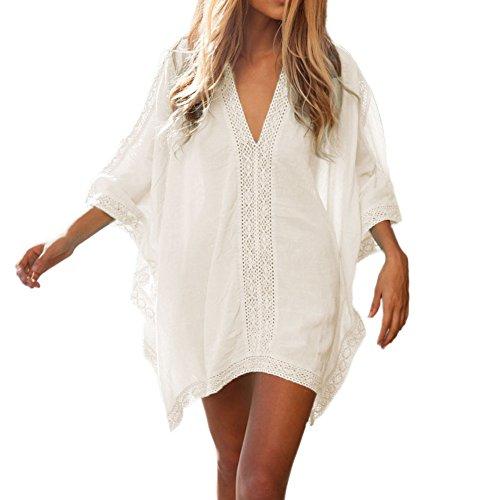 West See Damen Frau Swimm Cover Up Bikini Kleid Bluse Hemd Strandkleid Print (Weiß) (Kleid Up Badeanzug Cover)
