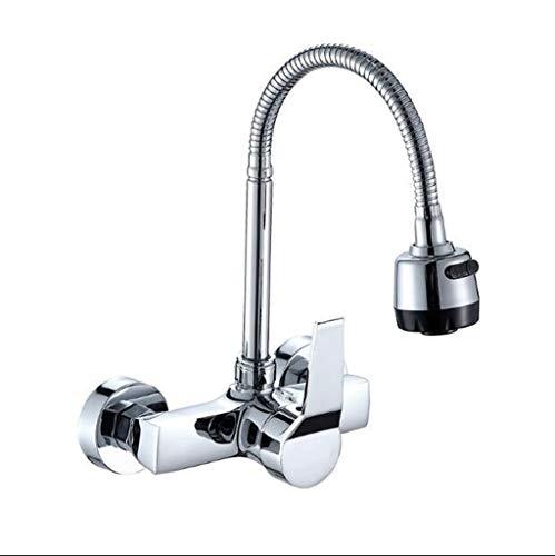 ZHANGJIAKAI Wasserhahn Wall Mounted Double Flexible Kitchen Faucet Mixers Sink Tap Wall Kitchen Faucet Hot and Cold Water Kitchen Faucets from Home Improvement -