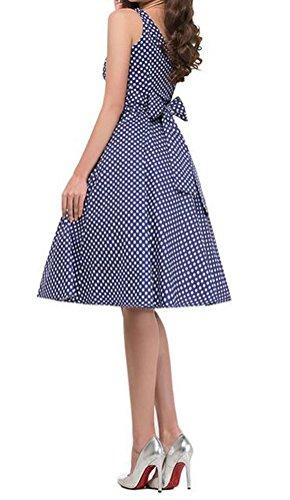 MILEEO 2016 Version3.0 Vintage 1950's Audrey Hepburn pin-up robe de soirée cocktail, style halter années 50 à pois Bleu