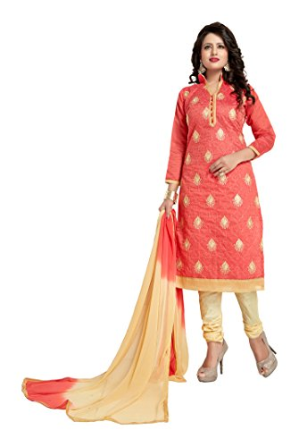Orange Color Chanderi Straight Salwar Kameez