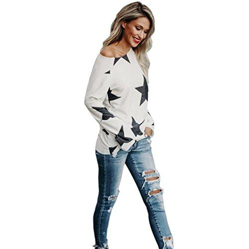 Damen Langarmshirt,,Bestop Damen Off Shoulder Langarmshirt Oberteile Tops Bluse (L, Weiß) (Tunika Schulter Pullover)