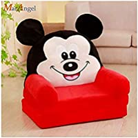 M.V. TRADING CO Pure Fiber Mickey Mouse Kids Sofa Cum Bed (Red, 30x16x16 Inches)