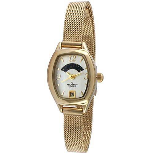 Peugeot Women's 14K Gold Plated Slim Mesh Decorative Sun Moon Phase Vintage Dress Watch with Date