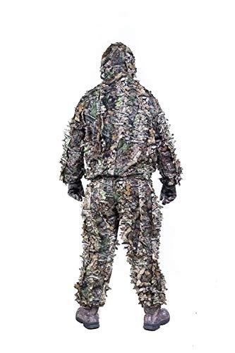 Outdoor-Ausrüstung Ghillie Suit 3D Hybrid Camo Camouflage Leichte Jagd Schnee Wilder Reißverschluss Ghillie Suit für Dschungeljagd, Schießen, Airsoft, Wildlife Photography oder Halloween-(3D leaf) -