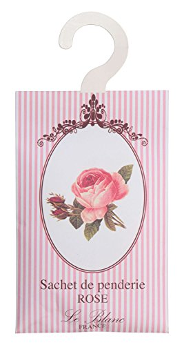 Le Blanc Duftsachet-Aufhänger für den Kleiderschrank, 11 x 17.5 cm, Duft Rose, 3er Pack (3 x 8 g)