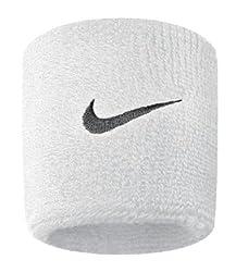 Nike Swoosh Wristbands (White/Black, Osfm)