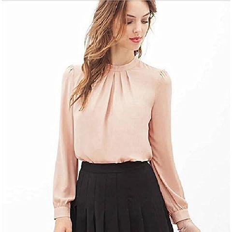 Culater® Verano de las mujeres del doblez ocasional de la camisa de la gasa de la blusa de manga larga