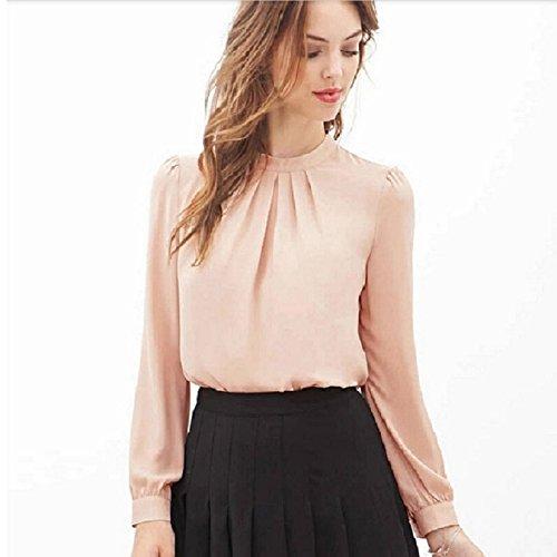 Culater® Verano de las mujeres del doblez ocasional de la camisa de la gasa de la blusa de manga larga Tops (M,