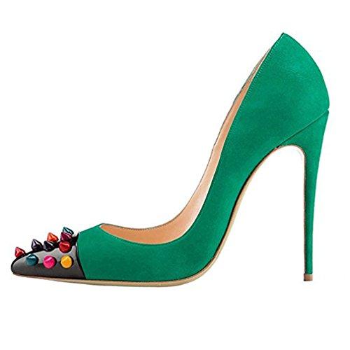 ENMAYER Femmes Matériel PU Slip-on Talons hauts Chaussures pour femme Pointe Toe Party Wedding Pumps Shallow Shoes Vert