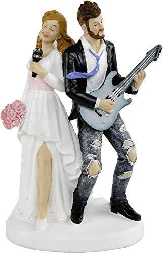 Unbekannt Brautpaar Hochzeitspaar | Tortenfigur Tortenaufsatz Kuchendekoration Dekofigur Cake Topper Wedding Hochzeit | Rockstar, Musikerpaar | 12 cm (Rockstar Cake Topper)