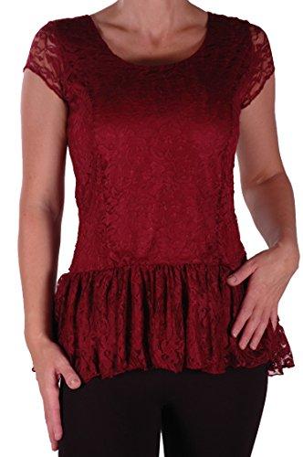 EyeCatch Plus – Haut manches courtes oversize peplum en dentelle - Poppy – Femme – Plusieurs Tailles et Couleurs Du Vin