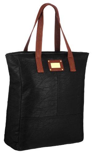 EyeCatchBags - Maribel Damen Kunstleder-Tasche Handtasche Schultertasche Schwarz