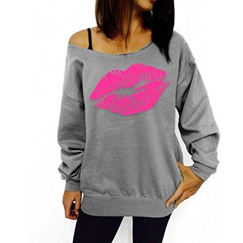 ELFIN® Femmes Sweat-shirts Rouge Sexuel Lèvre T-shirt Manches Longues Imprimé Pull-over à Epaules Dénudée Gris/Rose