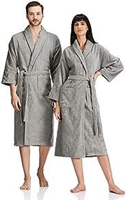 Amazon Brand - Solimo 100% Cotton Unisex Bathrobe, Ash Grey, Large, Set of 1