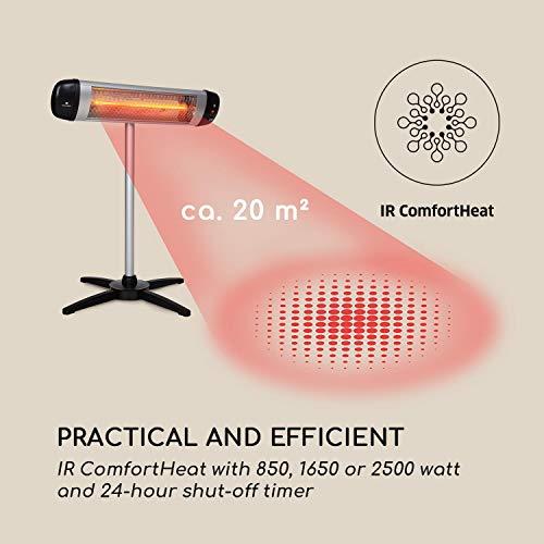 Blumfeldt Rising Sun • Infrarot-Heizstrahler • Carbon-Heizelement • gezielte Wärmeabgabe • Höhenverstellbarkeit von 70 cm • Stativ-Standfuß • 850 / 1650 / 2500 Watt Leistung • Abschalt-Timer bis 24 St. • LED-Anzeige am Gerät • Fernbedienung • Aluminium - 5