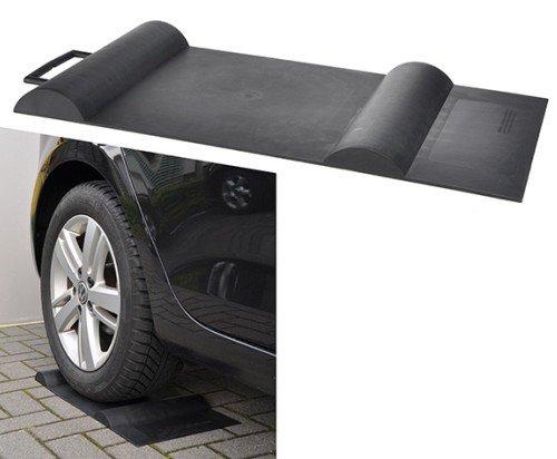 HI 2 x Parkstopp SoftStop Einparkhilfe Matte Garage Parkhilfe Carport Rutschfest Kunststoff schwarz
