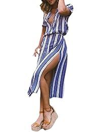 Sonnena mujer vestido Vestidos Sexy attrativo Mujer Verano 2018, Verano de Rayas impresión Larga Noche Vestido de Fiesta de Playa Vestido de…