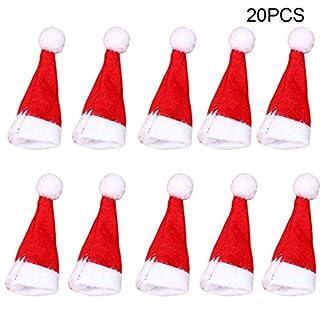 Lanceasy 20 Piezas Piruleta Gorro de Navidad Pequeño Mini Candy Papá Noel Tapón Decoración Fiesta