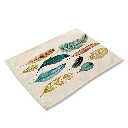 Ansenesna Tischsets Baumwolle Leinen Waschbar Beschichtet Bunt Platzsets Stoff Vintage Platzdeckchen Rechteckig 42x32cm (G)