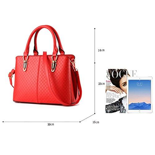 H&S Borsa a tracolla borsa in pelle goffrata borsa qualità Ms. borsa raccoglitore dell'unità di elaborazione Messenger bag big bag rosso