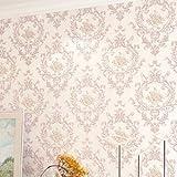 Loaest Luxuriöse, moderne 3D-violett Damast-seidentapeten Funkeln Beflockung Wandmalereien der Wand Papierrolle für Wohnzimmer Betten Zimmer, Rosa, 5,3 qm.