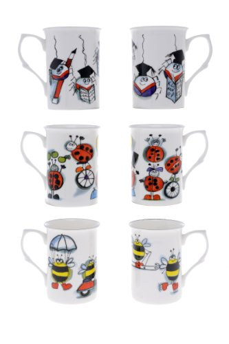 item-3a-kirsty-jayne-china-10fl-oz-set-of-6-bone-china-bugs-life-spider-ladybird-bee-beakers-mugs-gi